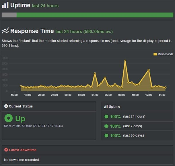 uptime bluehost review