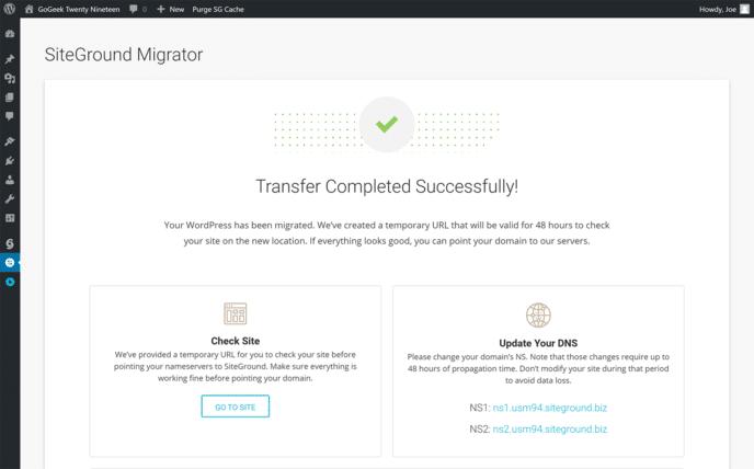 SiteGround Migrator Results