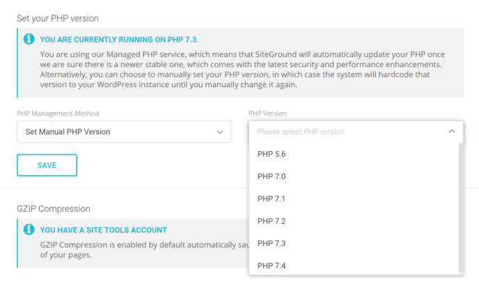 SiteGround Set PHP